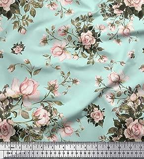 Soimoi Green Cotton Poplin Fabric Leaves & Rose Floral Printed Fabric 1 Yard 42 Inch Wide