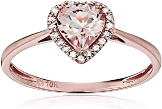10k Rose Gold Morganite and Diamond Solitaire Heart Halo Engagement Ring (1/10cttw, H-I Color, SI1-SI2 Clarity), Size 6