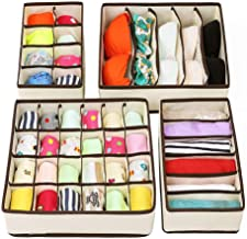 Antu 4 PCS Underwear Socks Bra Storage Organizer for Dresser Drawers, Drawer Tidy Divider Lattice Mesh Fabric Boxes