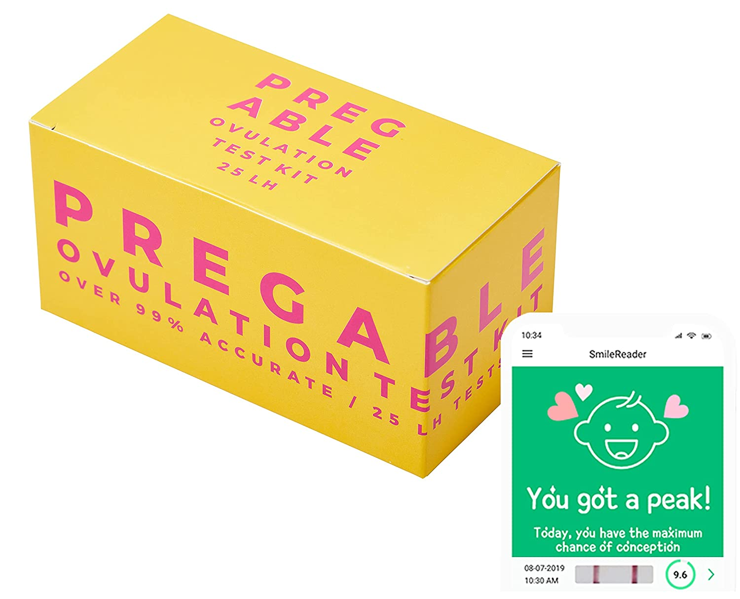 Pregable 25 Ovulation Test Kit, Free Tracker app, OPKs, 25 LH Strips, Ovulation Predictor iOS and Android APP
