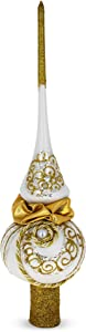 BestPysanky Rope on White Glass Christmas Tree Topper 11 Inches