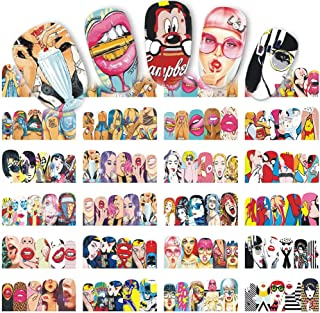iFancer Nail Stickers Water Transfer Nail Art Decals Trendy Manicure Full Nail Wraps Women Girls Fingers Toes Nail Tattoo Decoration Punk Red Kiss Lips Sexy Girls Pattern Design Nail Art Supplies