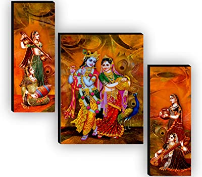 SAF Set of 3 Radha Krishna UV Textured Home Decorative Gift Item Painting 12 Inch X 18 Inch SAF-JMS7545