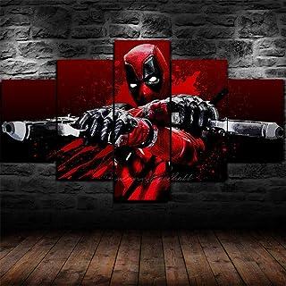 HZK 5 Parties tendu Toile,Moderne HD Posters Art Tableaux,XXL Bureau Couloir Home XXL Murale Decoration,Deadpool Character...