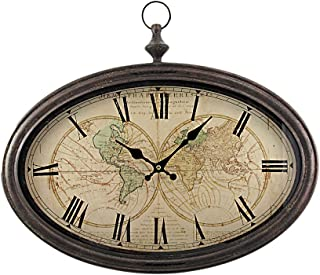 World Map Wall Clock with Antiqued Bronze Case