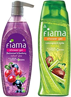 Fiama Shower Gel - Blackcurrant & Bearberry, for Radiant Glow, with skin conditioners, 500 ml & Fiama Shower Gel - Lemongr...