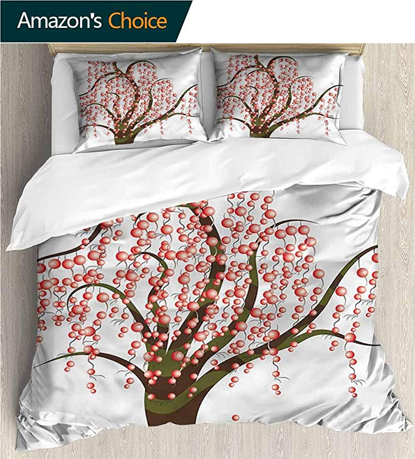 VROSELV-HOME 3 Pcs King Size Comforter Set,Box Stitched,Soft,Breathable,Hypoallergenic,Fade Resistant with 2 Pillowcase for Kids Bedding-Abstract Artistic Tree with Stripes (104