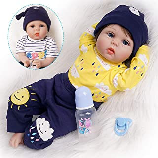Yesteria Reborn Baby Doll Toddler Real Looking Blue Jacket with Crocodile Striped Pants White Shoes 24 Inches