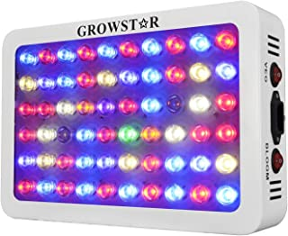 GROWSTAR 300W LED Grow Light, Veg and Bloom Double Switch Full Spectrum for Flowers/Hydroponics/Indoor Veg/Greenhouse(12 Bands,5Wx60pcs LEDs)