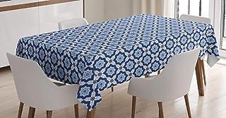 ABAKUHAUS marocain Nappe, Diagonal Azuejo Motif, Linge de Table Rectangulaire pour Salle à Manger Décor de Cuisine, 140 cm...