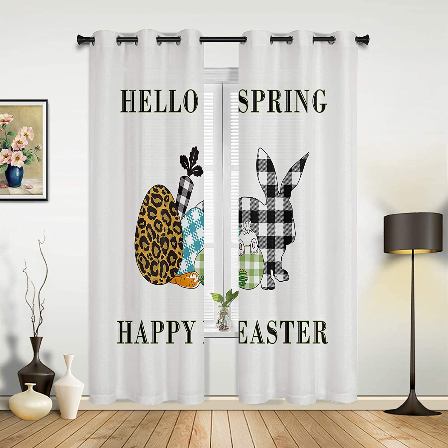 Window Sheer Curtains for Bedroom Happy Cute Branded Free shipping anywhere in the nation goods Room Easter Living