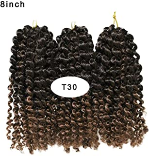 3Packs (total 9bundles) Malibob Kinky Curly Crochet Hair weaves 8inch Ombre Malibob Jerry Curly Twist Hair Synthetic Crochet Braids Freetress Braiding Hair Extensions afro kinky Marlybob hair (T30)