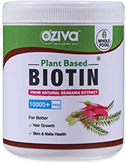 OZiva Plant Based Biotin. 10,000+ mcg (with Sesbania Agati, Bamboo Shoot, Amla & more), 120 g