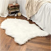 Faux Fur Sheepskin Rug, Soft Chair Cover Seat Pad Plain Skin Fluffy Area Rugs, Washable Bedroom Home Decor,White,40x60cm