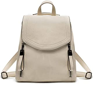 JOSEKO Damen-Rucksack mit Klappe aus Leder, lässiger Rucksack mit Schulterriemen, weiß (Weiß) - JOSEKOukpursemall2647