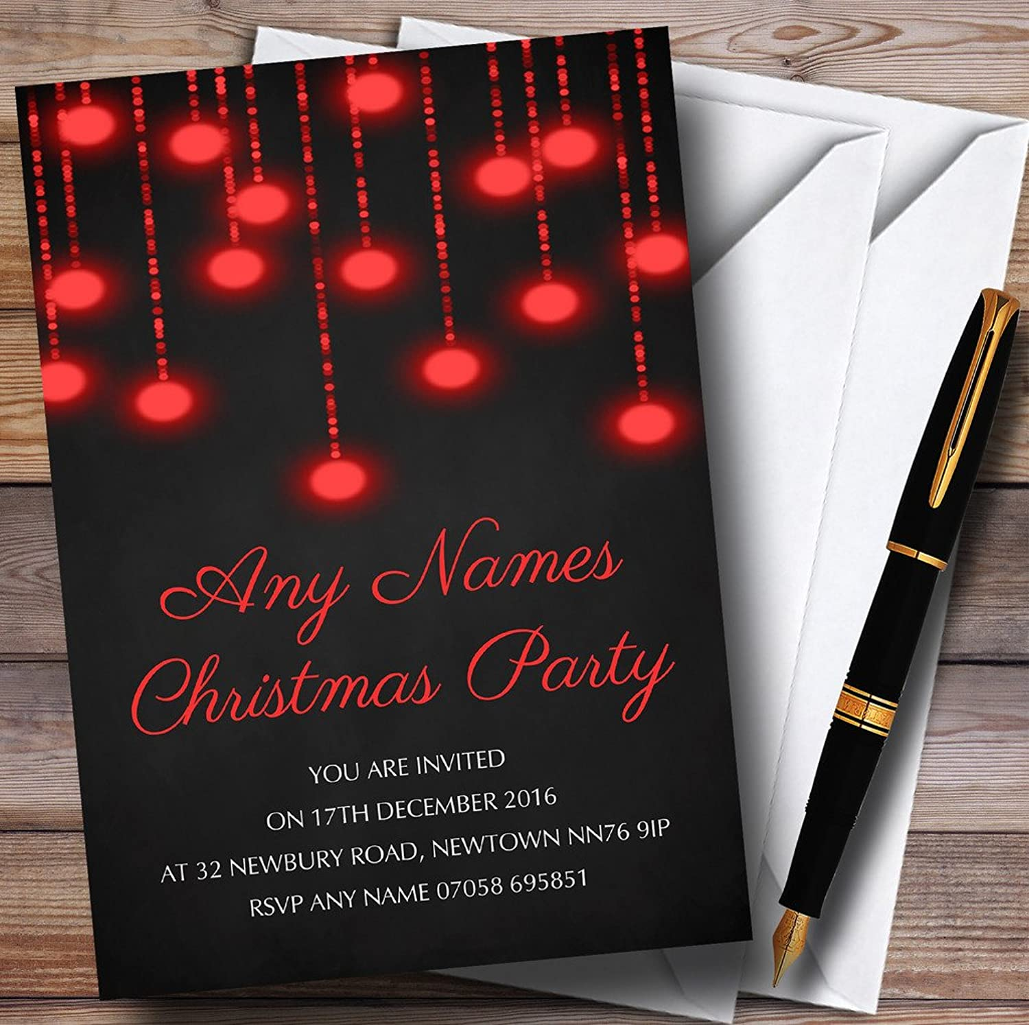 Red Lights Chalk Effect Personalised Christmas   New Year   Holiday Party Inv...