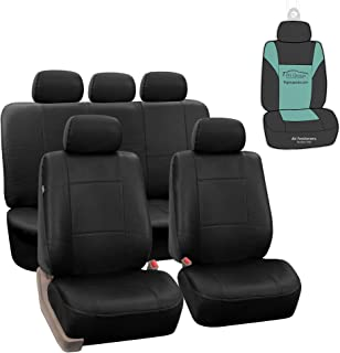 FH Group PU002115 Classic PU Leather Car Seat Covers, Airbag Compatible and Split Bench w. Gift Solid Black Color - Fit Most Car, Truck, SUV, or Van