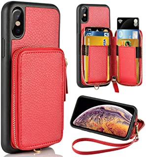 ZVE Wallet Case for Apple iPhone Xs and iPhone X, 5.8 inch, Leather Wallet Case with Credit Card Holder Slot Zipper Wallet Pocket Purse Handbag Wrist Strap Case for Apple iPhone Xs and X - Red