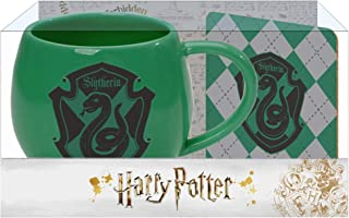 Slytherin Crest Green and Black 16 Ounce Glossy Ceramic Mug & Coaster Set