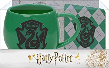 Slytherin Crest Green and Black 16 Ounce Glossy Ceramic Mug & Coaster Set