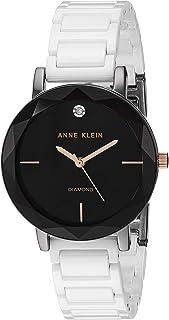 Anne Klein Women's AK Diamond-Accented Ceramic Bracelet Watch