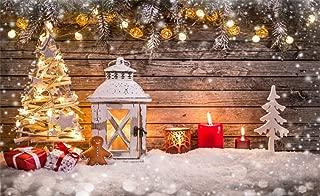 Leowefowa 5X3FT Christmas Backdrop Shining Decoration Tree Lantern Gifts Candles Lights Heavy Snow Rustic Wood Plank Happy New Year Vinyl Photography Background Kids Newborn Photo Studio Props