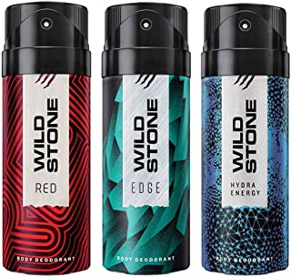 Wild Stone Edge, Hydra Energy and Red Deodorant For Men 150 ML Each (Pack Of 3)