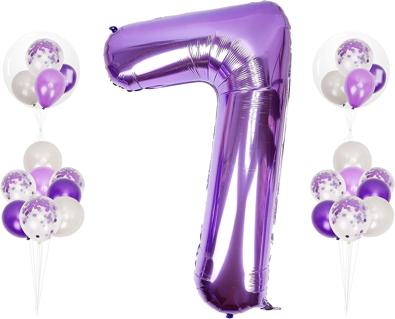 Herefun 0 to 9 Anniversaire Chiffres Violet Ballon 40 Pouces G/éant Num/éro Ballon Violet D/écoration Anniversaire Grand Ballons /à H/élium Num/érique en Aluminium D/écoration F/ête Festival Mariage Party