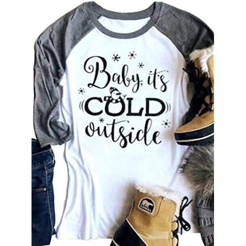 323fe12d83 FAYALEQ Baby It s Cold Outside Funny Christmas Snowman T Shirt Women Holiday  Raglan Baseball Tee
