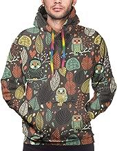 GGlooking Men's Hoodie,Pullover Hooded for Women,Unisex 3D Print Sweatshirt Shirts Sweater with Big Pocket,Owl