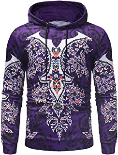 Mogogo Men's Over Sized Hooded Dashiki Printing Relaxed-Fit Pullover Sweatshirt