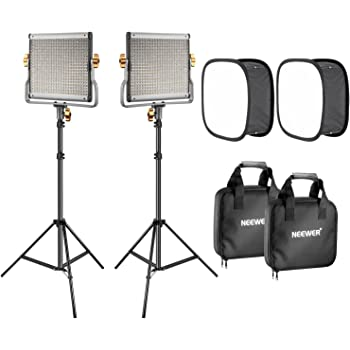 RALENO LED Video Lighting Kits With 75inch Light Stand Built-in Lithium Battery 3200K-6500K Video Lighting Kits For YouTube Photography Shooting 1 Durable Handbag And 2-Pack 384 LED Soft Video Light