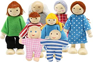 PUCKWAY Lovely Family Dollhouse Dolls Set of 8 Wooden Little People Figures, Kids Girls Happy Playset Characters Accessori...