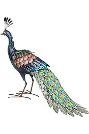 Pfau Vogel aus Metall mit bunten Kristallen stehend Gartendeko Garten Deko Neu