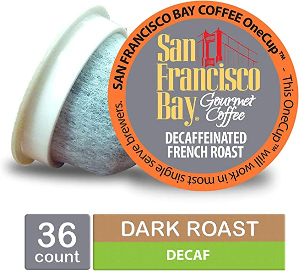 San Francisco Bay OneCup DECAF French Roast Single Serve Coffee K Cup Pods 36 Count Keurig Compatible Swiss Water Process Decaffeinated