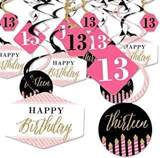 Chic 13th Birthday - Pink, Black and Gold - Birthday Party Hanging Decor - Party Decoration Swirls - Set of 40