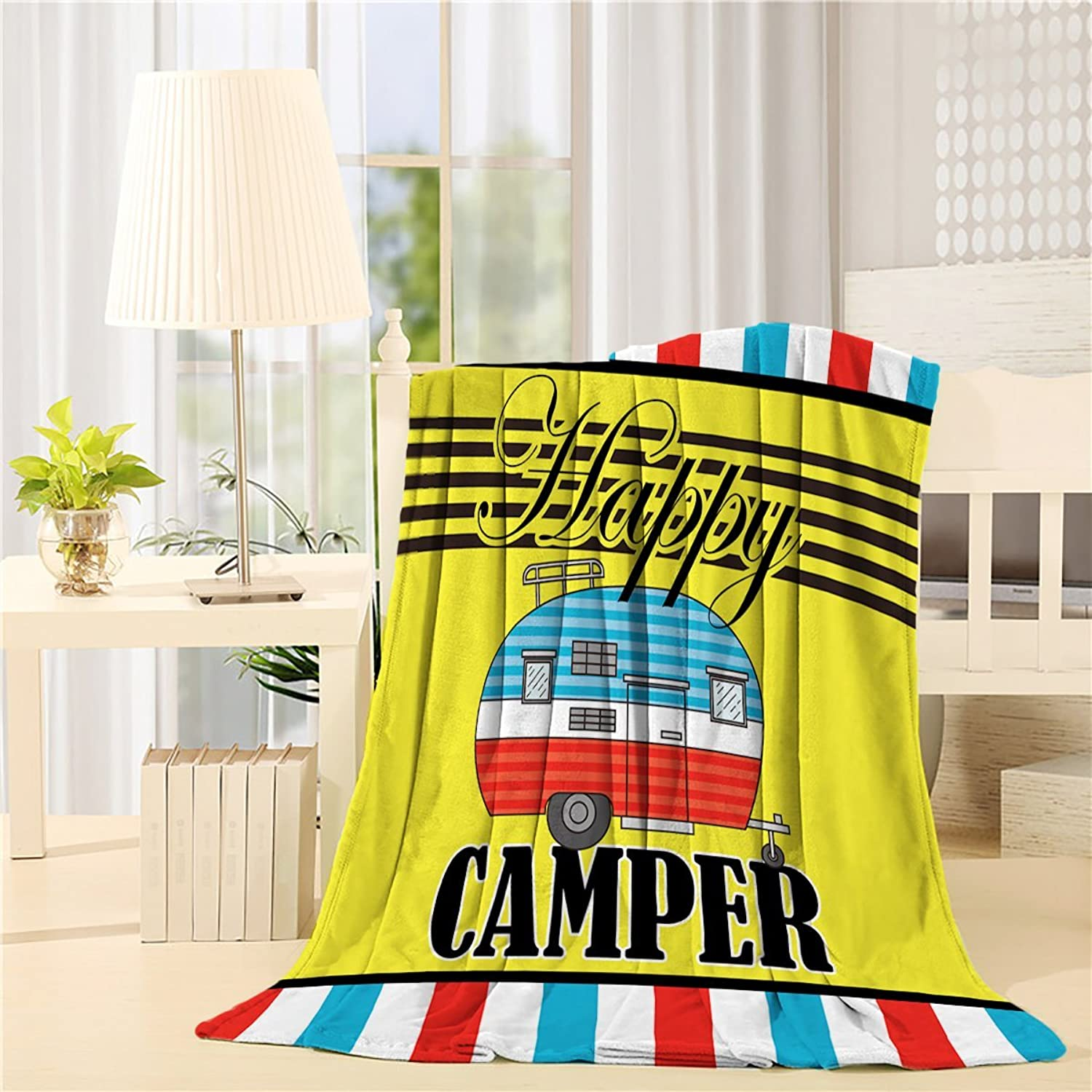 Flannel Fleece Bed Blanket 40 x 50 inchCamper Throw Blanket Lightweight Cozy Plush Blanket for Bedroom Living Rooms Sofa Couch - colorful Bus Travel Graphic with Stripes