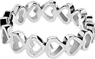 ELYA Women's Stainless Steel Open Heart Infinity Ring (5 mm) - Size 5-9
