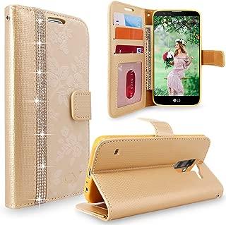 LG Stylus 2 Case, LG G Stylo 2 Case Cellularvilla [Diamond] [Card Slot] Embossed Flower Design Premium Pu Leather Wallet Case Protective Cover for LG G Stylo 2 / LG Stylus 2 LS775 (Golden Bling)