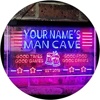 ADVPRO Personalized Name Custom Man Cave Home Bar Est. Year Dual Color LED Neon Sign Red & Blue 16 x 12 Inches st6s43-x0012a-tm-rb