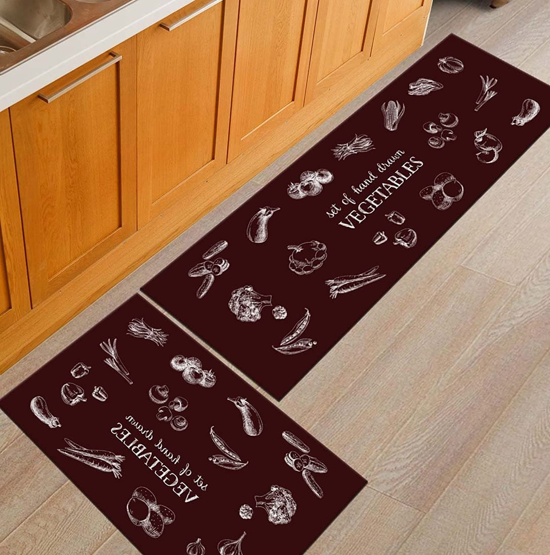 BABE MAPS Indoor Outdoor 2PCS Doormat Entrance Welcome Mat Absorbent Runner Inserts Non Slip Entry Rug Funny Kitchen Vegetables, Home Decor Inside shoes Scraper Floor Carpet 23 x35  23 x70