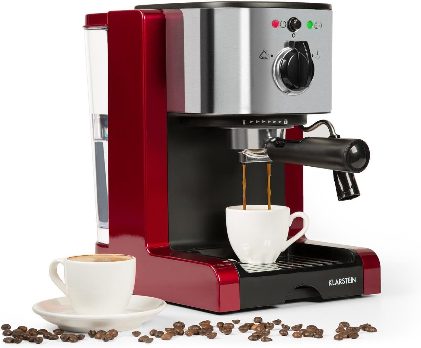 Klarstein Passionata Rossa 15 - Máquina de espresso, Cafetera automática, Espumadora, 1470W, 1,25L de capacidad (6 Tazas), Descarga de presión automática, Incluye boquilla de vapor, Rojo