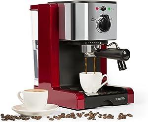 Klarstein Passionata Rossa 20 Espresso Machine • 20 Bar • Capuccino • Milk Foam • 1350W • Stylish Design for Modern Kitchens • Steam Nozzle for Frothing Milk and Preparing Hot Drinks • Dark Red