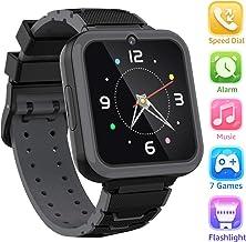 Reloj Inteligente para Niños Smartwatch Teléfono-Pantalla Táctil HD con Música Juego Linterna Llamar SOS Cámara Despertador Juguetes de Aprendizaje Niños Regalo con Ranura para Tarjeta SIM (Negro)