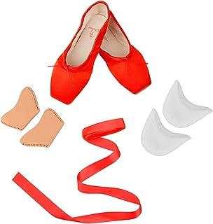 Mujeres y Niñas Satén Pointe Zapatos para Ballet Pack de 1 (Gratis 1 Pares de Gel de Silicona Toe Protectores y Cinta de s...