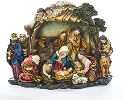 Kurt S. Adler Nativity Scene 10 Inch Resin Stone Decorative Tabletop Figurine