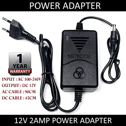 NETBOON 100-240V AC Input, 12V DC 2A (2000mA) Output, Power Adapter Supply for Security Camera, Modem, Networking HUB, 12v MP3, MP4, Electric Toys, Router, Etc