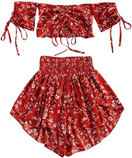 ZAFUL Women's Floral Two Piece Set Off Shoulder Drawstring Crop Top Smocked Shorts Set