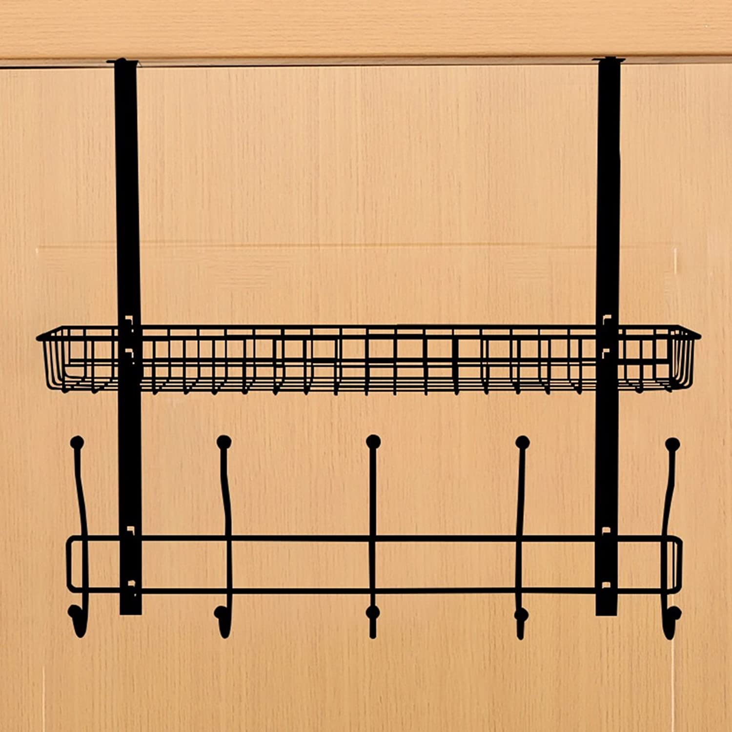 Creative Multifunctional Clothes Hat Hanger Living Room Bedroom Kitchen Hanging Door Hook Rack ( color   Black )