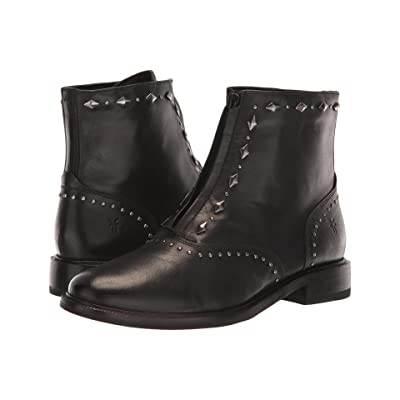 Frye Kelly Stud Front Zip (Black Dip-Dyed Leather) Women